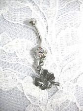 NEW USA ANTIQUED PEWTER LUCKY 4 LEAF CLOVER CHARM ON CLEAR CZ BELLY BUTTON RING