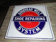 Vintage Goodyear Welt Shoe Repairing System Advertising Porcelain Flange SIGN