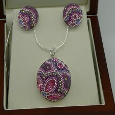 Oval Design Sterling Silver .925 Necklace,Earrings Set With Swarovski Elements