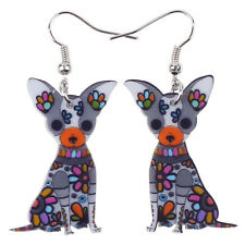 Bonsny Chihuahua Dog Jewellery Pet Charm Dangle Drop Animal Earrings Women Girls Red