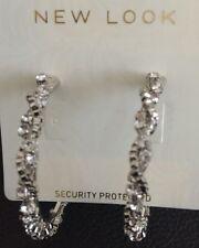 Brand New Silver Diamante Twist Design Hoop Earrings