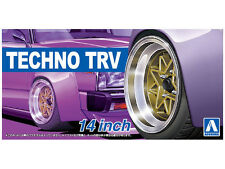 AOSHIMA NO.53 TECHNO TRV 14 INCH TIRE & WHEEL SET 1/24 Scale