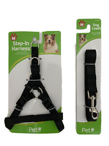 Step in Dog Harness with Dog Leash Medium Size Black
