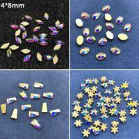 30Pcs Glass Flatback No-Hotfix Rhinestones Crystal Nail Art Irregular Moon Beads