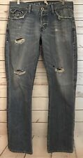 GUESS Jeans Mens Falcon Slim Boot Flap Pocket Distressed Destroyed Denim 33x32