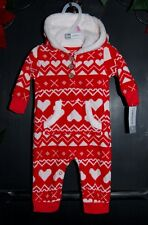 NWT CARTER'S BABY GIRL ONE-PIECE Hooded FLEECE SLEEPER Hearts Red Sz.  3M