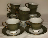 8 Sango China *VERSAILLES*GREEN & GOLD*FOOTED CUPS & SAUCERS*3632*