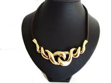 Chunky Gold Twist Brown Leather Cord Collar Necklace       LaGeNLooK JeWeLleRy