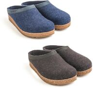 HAFLINGER TORBEN GRAPHIT GREY BLUE SLIPPERS WOOL FELT MEN WOMEN MAN WOMAN