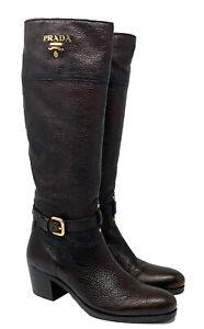 Authentic PRADA Logo Long Boots #36 US 6 Brown Leather Gold Logo Medium Heels