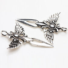 5Pcs Jewelry Making Tibetan Silver Angel Sword Alloy Charms Pendants 49*35mm