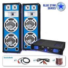 DJ Speakers PA Hi Fi Amplifier Cables Bundle 2x Dual 10 Inch LED Effect 1000W