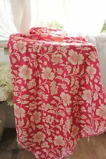 cotton fabric Vintage 1930's red printed French floral material for projects