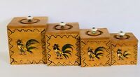 Vintage 60s Mid Century Wood Kitchen Canisters Handpainted Birds Roosters MCM