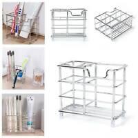 Bathroom Toothpaste Toothbrush Stand Storage Rack Holder Metal Stainless Steel