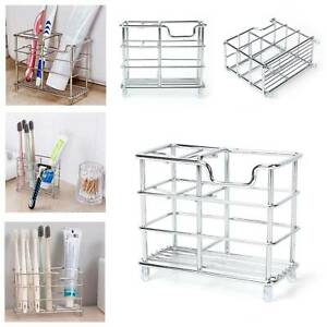 Bathroom Toothpaste Toothbrush Stand Storage Rack Holder Metal Stainless Steel