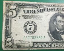 """1928A $5 """"Redeemable in GOLD"""" """"BIG 7"""" Chicago X882 VG! Old US Currency!"""