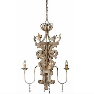 Woodland Chandelier Fixture with Crystals Royal Design 4 Bulb Aged Finish