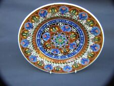 VINTAGE  TURKISH  IZNIK GURAY  POTTERY  FLORAL BLUE CABINET DECOR  9'' PLATE
