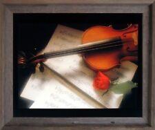 Violin & Music Sheet Red Rose Flower Picture Wall Decor Barnwood Framed (19x23)