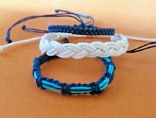 3 BRACELET BLUE CORD HEMP STRING ROPE ANKLET FRIENDSHIP WRISTBAND mens women new