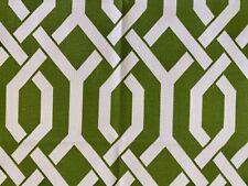 P. KAUFMAN Upholstery Fabric GEOMETRIC TRELLIS FRETWORK in Grass Green & White
