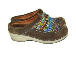 Dansko 37 6.5 7 Dark Brown Suede Leather Clogs Mules Slide Shoes Blue Orange