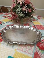 Vintage FB Rogers Silver Co. Footed Serving Tray Platter Trademark 1883 ridges