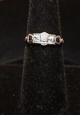 Vintage Estate Art Deco 14K Yellow Gold & Platinum Sapphire Diamond Ring