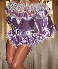 Vtg Flutter Lace Slip Wide Gusset Satin Panty Teddy Romper Bodysuit L XL 40 42