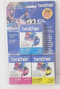 Brother Ink Cartridges 3 Pack LC41CL Cyan Yellow Magenta Color Value Pack New
