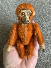 2 Vintage Schuco Acrobat Orange Mohair Tumbling Monkey Germany Toys