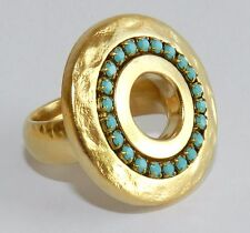 Designer Yellow Gold 24K Plated Round Hole Disc Ring & Turquoise Stones Sz 8