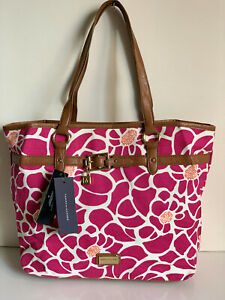 NEW! TOMMY HILFIGER WHITE PINK FLORAL SATCHEL SHOPPER TOTE BAG PURSE $89 SALE