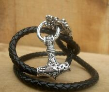 Thor's Hammer mjolnir leather necklace pendant with Viking Dragons heads
