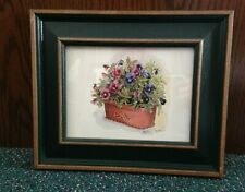 """Picture Of Pansies In Terracotta Pot In 2"""" Green Wood Frame - 11 1/2"""" X 9 1/2"""""""