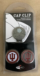 Team Golf Cap Clip with 2 Magnetic Enamel Ball Markers - Indiana University IU