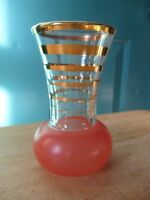 Small Vintage Glass Vase with Frosted Peach Colored Bottom and Gold Rings