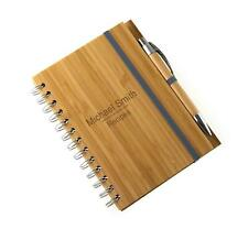 Personalised Recycled Bamboo Note Pad & Pen Laser Engraved