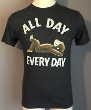 "CURIOUS GEORGE Mens T Shirt Crew Neck  ""ALL DAY EVERY DAY"" Gray Size S New"