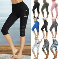 Women 3/4 Capri Yoga Pants High Waist Leggings Cropped Pocket Sports Gym Workout