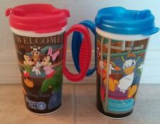 DISNEY PARKS Rapid Fill Plastic Cup/Tumbler with lid Set of 2 Red