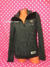 Victoria's Secret Pink Black/ Marl Gray Quarter Zip Doggie Sweater Medium NWT