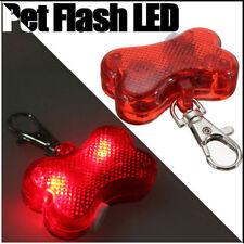2 x Pet Safety Hi Viz Bone Shape  Flasher Dog Cat LED Light Collar Tag High Viz