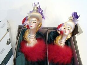 Germany Vintage Glassworks Christborn Lady in Hat Blown Glass Ornaments 2 boxed