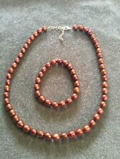 """Vintage 18"""" Brown Pearl Necklace & Bracelet Set ~ Sterling Silver 925 Clasp"""