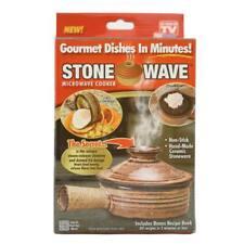 Stone Wave Microwave Cooker Non-Stick Ceramic Stoneware Baking Pan ASTV - NEW