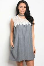 NEW..Stylish Plus Size Stripe Shift Dress with Lace Bodice..SZ22/3XL
