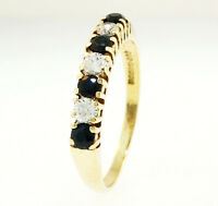 9Ct Yellow Gold Simulated Diamond & Sapphire Eternity Ring (Size O)