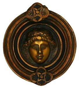 Smiling Face Victorian Style Handmade Solid Brass Door Bell & Knocker Home Decor